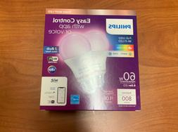 2 Pack Philips Smart Wi-Fi WiZ Connected Full color Light Bu