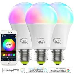 3pack rgbw dimmable led wifi smart lights