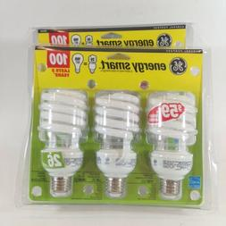 6 GE CFL Light Bulbs 100W SOFT WHITE 2 Packages 3 Each Energ