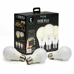 Geeni LUX 800 Dimmable A19 White LED Smart Home Light Bulbs,